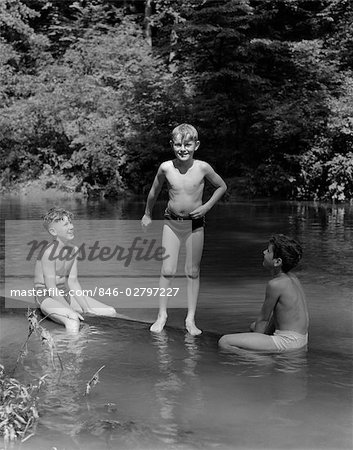 1940s THREE BOYS OUTDOOR IN SWIMMING HOLE Stock Photo - Rights-Managed, Image code: 846-02797227