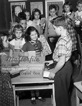 1950s 4TH GRADE SCHOOL MOCK ELECTION STUDENTS PUTTING VOTES IN BALLOT ...