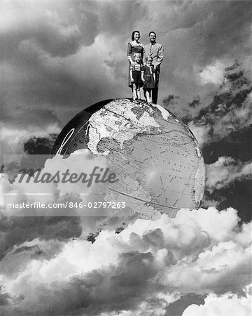 1950s SPECIAL EFFECT NUCLEAR FAMILY FOUR MAN WOMAN BOY GIRL MOM DAD TWO KIDS STAND ON TOP OF WORLD GLOBE EARTH CLOUDS Stock Photo - Rights-Managed, Image code: 846-02797263