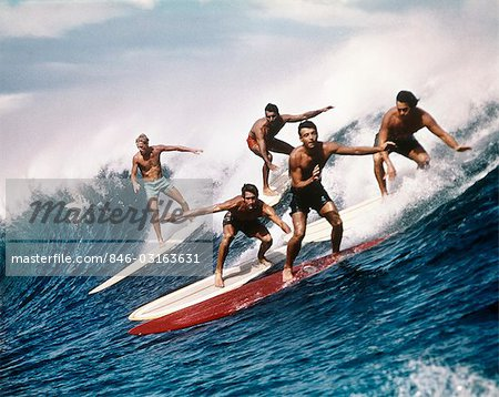 1960s 1970s FIVE MEN SURFING Stock Photo - Rights-Managed, Image code: 846-03163631
