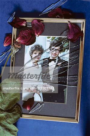 SHATTERED GLASS ON 1980s WEDDING PHOTO Stock Photo - Rights-Managed, Image code: 846-03163743