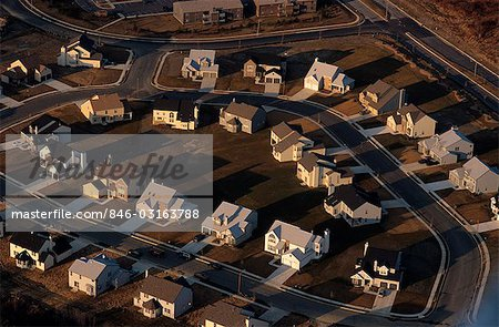 AERIAL OF RECENTLY COMPLETED HOUSING DEVELOPMENT Stock Photo - Rights-Managed, Image code: 846-03163788