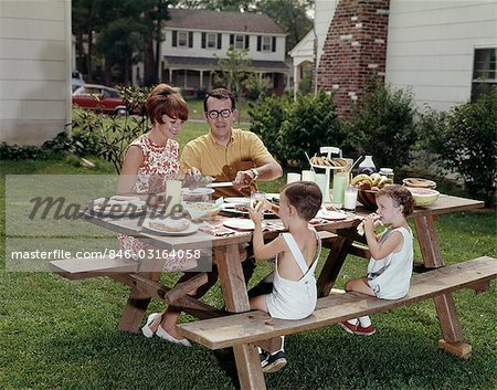 1970s PICNIC TABLE FAMILY BACK YARD Stock Photo - Rights-Managed, Image code: 846-03164058