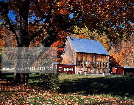 AUTUMN SCENE WOODEN BARN NEAR EAST ORANGE VERMONT Stock Photo - Rights-Managed, Image code: 846-03164274