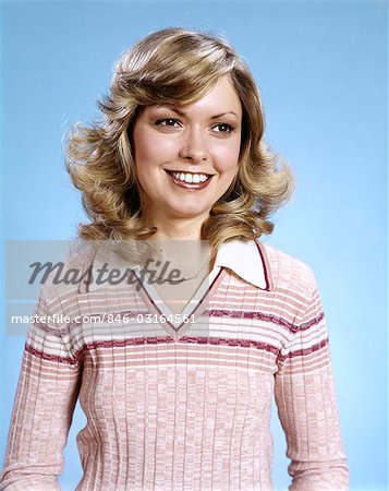 1970s PORTRAIT SMILING CURLY BLOND WOMAN WEARING PINK STRIPE SWEATER Stock Photo - Rights-Managed, Image code: 846-03164561