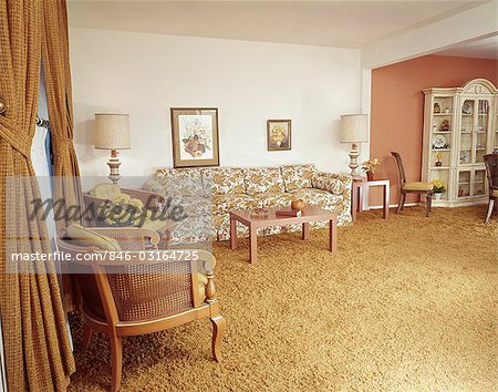 1970s ORANGE AND YELLOW LIVING ROOM INTERIOR Stock Photo - Rights-Managed, Image code: 846-03164725