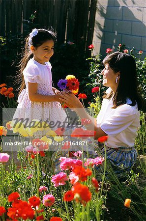 MOTHER IN GARDEN WITH DAUGHTER Stock Photo - Rights-Managed, Image code: 846-03164871