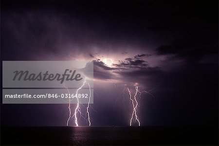 LIGHTNING STORM AT NIGHT OVER WATER Stock Photo - Rights-Managed, Image code: 846-03164892