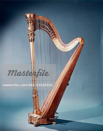 GOLDEN FREE STANDING MUSICAL HARP Stock Photo - Rights-Managed, Image code: 846-03165051