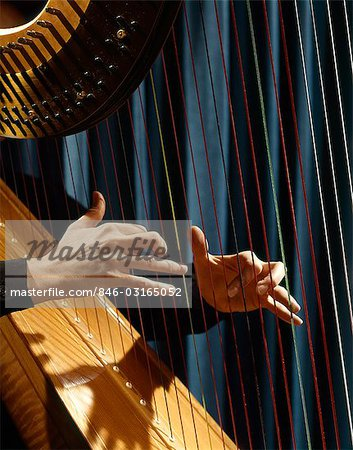 1960s CLOSE UP OF WOMAN'S HANDS PLAYING HARP PLUCKING STRINGS Stock Photo - Rights-Managed, Image code: 846-03165052