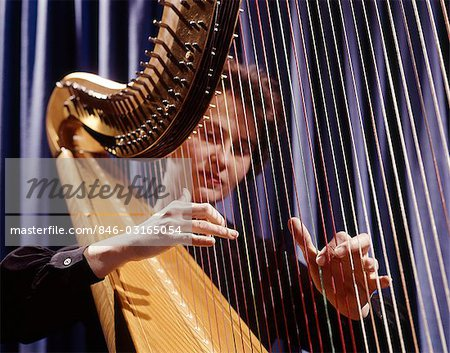 1960s WOMAN PLAYING HARP PLUCKING STRINGS Stock Photo - Rights-Managed, Image code: 846-03165054