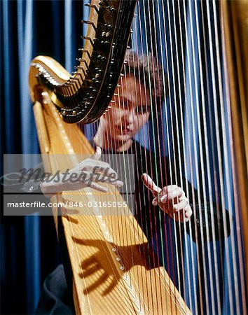 1960s HARP MUSICIAN WOMAN STRINGS Stock Photo - Rights-Managed, Image code: 846-03165055