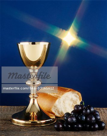 GOLD CHALICE WINE GRAPES AND BREAD COMMUNION STILL LIFE UNDER STARRY LIGHT