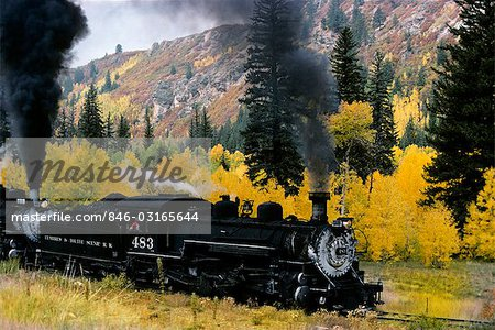 NARROW GAUGE RAILROAD IN AUTUMN CHAMA NEW MEXICO Stock Photo - Rights-Managed, Image code: 846-03165644