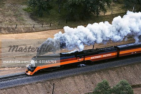 AERIAL OF SP 4449 VINTAGE STEAM ENGINE SACRAMENTO RAIL FAIR '91 REDDING CALIFORNIA Stock Photo - Rights-Managed, Image code: 846-03165759