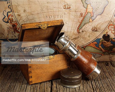 1970s ANTIQUE WORLD MAP BINOCULARS COMPASS NAUTICAL STILL LIFE Stock Photo - Rights-Managed, Image code: 846-03165847