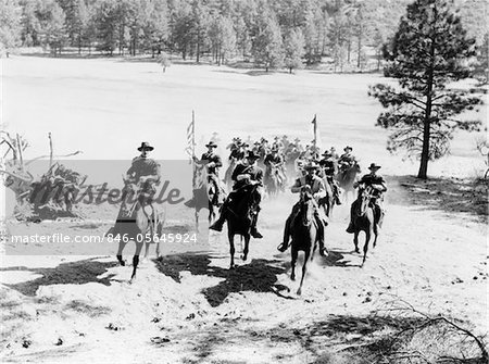 1880s UNITED STATES ARMY CAVALRY TROOP RIDING TO THE RESCUE
