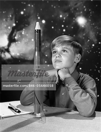 1960s BOY WITH MODEL ROCKET AND OUTER SPACE BACKGROUND Stock Photo - Rights-Managed, Image code: 846-05646058