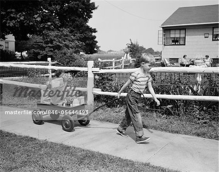 1950s BOY PULLING GROCERIES IN WAGON Stock Photo - Rights-Managed, Image code: 846-05646493