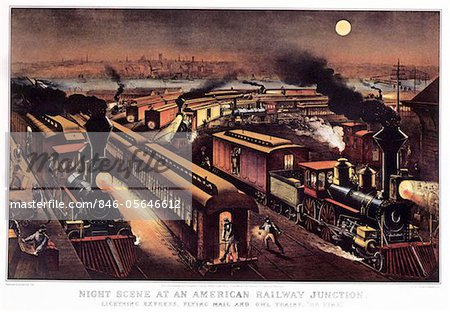 1870s - 1876 NIGHT SCENE AT AN AMERICAN RAILWAY JUNCTION CURRIER & IVES PRINT Stock Photo - Rights-Managed, Image code: 846-05646612