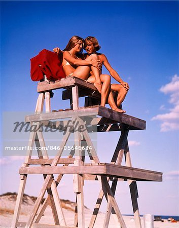 1970s TEEN COUPLE ON LIFE GUARD STAND Stock Photo - Rights-Managed, Image code: 846-05646634