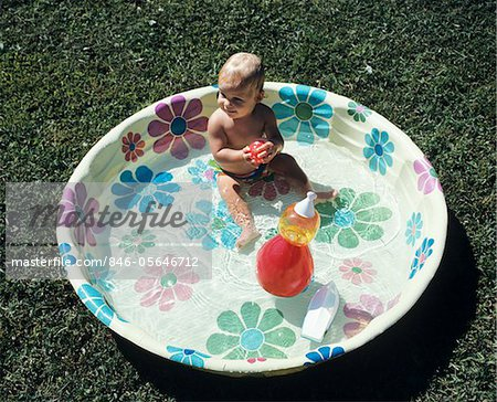 1970s BABY SITTING IN PLASTIC BACKYARD KIDDY POOL VIEWED FROM ABOVE Stock Photo - Rights-Managed, Image code: 846-05646712