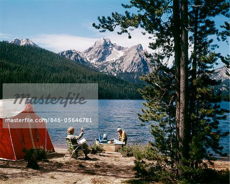 1970s COUPLE CAMPING STANLEY LAKE, ID Stock Photo - Premium Rights-Managed, Artist: ClassicStock, Code: 846-05646781