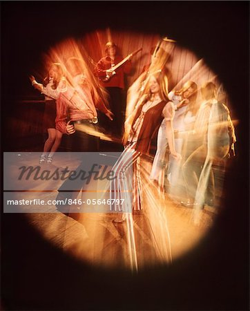 1960s - 1970s TEEN COUPLE DANCING ROCK BAND MUSIC BANDS BLURRED CIRCULAR VIGNETTE Stock Photo - Rights-Managed, Image code: 846-05646797