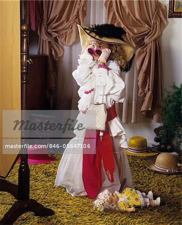 1980s LITTLE GIRL PLAYING DRESS-UP Stock Photo - Rights-Managed, Image code: 846-05647106