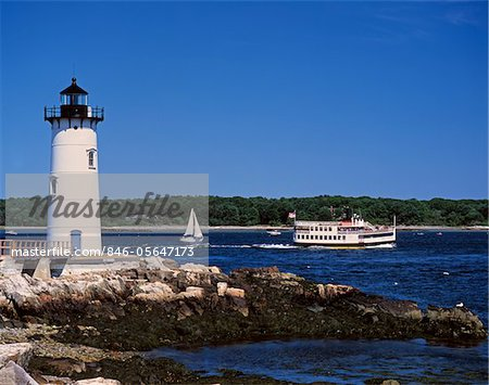1990s LIGHTHOUSE SAIL AND FERRY BOAT NEW CASTLE MAINE Stock Photo - Rights-Managed, Image code: 846-05647173