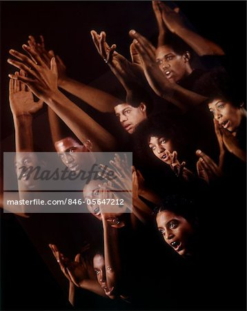1960s - 1970s MONTAGE MULTIPLE EXPOSURE AFRICAN AMERICAN CHORUS FACES ARMS HANDS GOSPEL SINGERS SINGING Stock Photo - Rights-Managed, Image code: 846-05647212