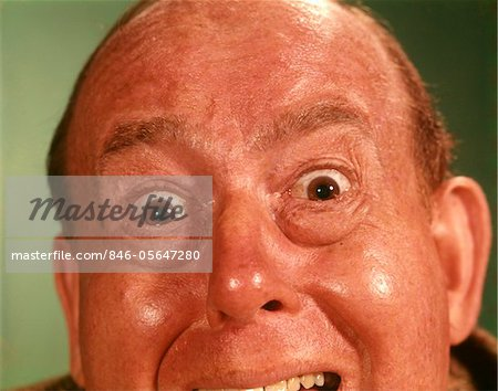 1960s PORTRAIT MAN FOREHEAD TO CHIN SILLY WACKY FUNNY FACIAL EXPRESSION BIG EYES OPEN MOUTH MAD ANGRY UPSET IRATE Stock Photo - Rights-Managed, Image code: 846-05647280