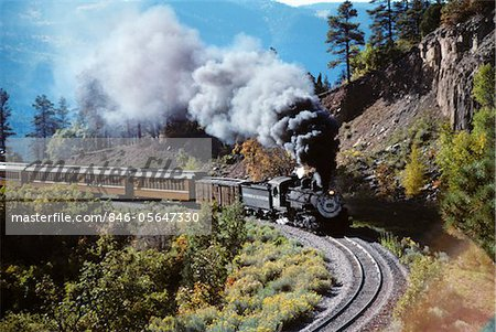 NARROW GAUGE STEAM RAILROAD TRAIN DURANGO SILVERTON, CO Stock Photo - Rights-Managed, Image code: 846-05647330