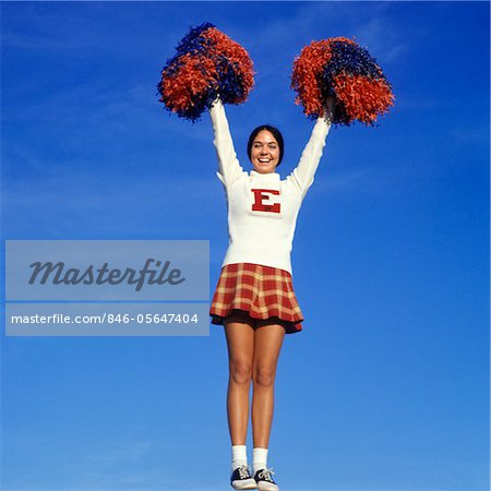1960s - 1970s TEEN GIRL CHEERLEADER FULL FIGURE HEAD TO TOE SADDLE OXFORD SHOES PLAID SHORT SKIRT POMPOMS Y STANCE ARMS UP