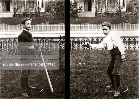 1890s - 1900s TWO IMAGES OF BOY IN KNICKERS HOLDING BASEBALL BAT AND PITCHING BALL Stock Photo - Rights-Managed, Image code: 846-05647769