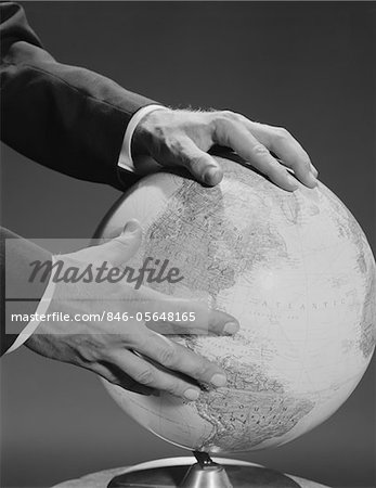 1960s MALE  HANDS HOLDING EARTH GLOBE Stock Photo - Rights-Managed, Image code: 846-05648165