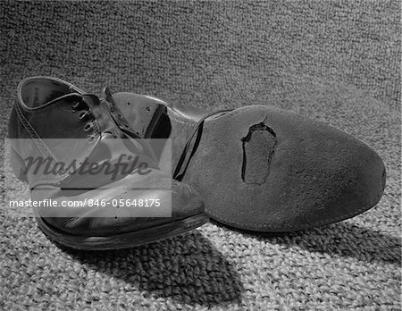 1960s OLD SHOES WELL WORN WITH HOLE IN THE SOLE Stock Photo - Rights-Managed, Image code: 846-05648175
