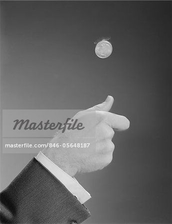 1960s MALE HAND TOSSING FLIPPING A COIN Stock Photo - Rights-Managed, Image code: 846-05648187