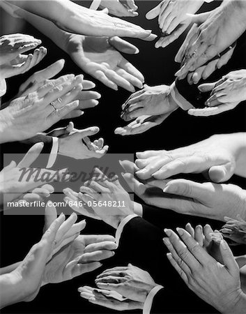 1950s MONTAGE OF MANY MAN AND WOMAN HANDS CLAPPING Stock Photo - Rights-Managed, Image code: 846-05648211