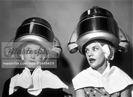 1950s TWO WOMEN SITTING TOGETHER GOSSIPING UNDER HAIRDRESSER HAIR DRYER Stock Photo - Rights-Managed, Image code: 846-05648409
