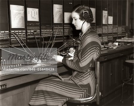 1930s WOMAN TELEPHONE OPERATOR SITTING AT LARGE MANUAL SWITCHBOARD DIRECTING CALLS Stock Photo - Rights-Managed, Image code: 846-05648439