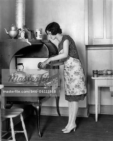 1920s HOUSEWIFE AT STOVE COOKING Stock Photo - Rights-Managed, Image code: 846-06111868