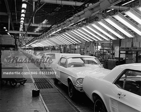 1960s INTERIOR OF FORD MUSTANG PLANT WITH NEARLY FINISHED CARS ON ASSEMBLY LINE Stock Photo - Rights-Managed, Image code: 846-06111909
