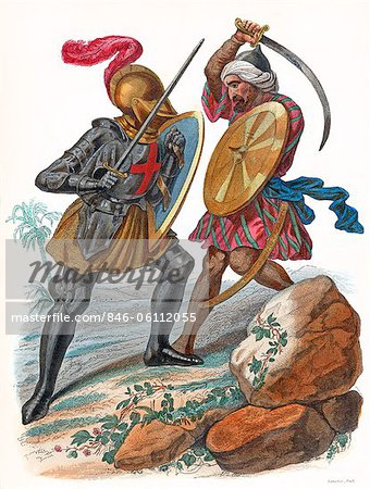 MEDIEVAL CHRISTIAN KNIGHT FIGHTING A MUSLIM ARAB SOLDIER WITH SWORDS TWO CRUSADES WARRIORS Stock Photo - Rights-Managed, Image code: 846-06112055