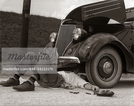 1930s MAN ON BACK WEARING STRIPED SOCKS FIXING CAR Stock Photo - Rights-Managed, Image code: 846-06112175