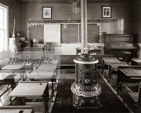 1900s OLD TIME  PIONEER CLASSROOM WITH PIANO & WOOD-BURNING STOVE Stock Photo - Rights-Managed, Image code: 846-06112256