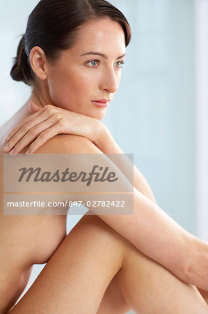 Beautiful naked woman sitting up Stock Photo - Rights-Managed, Image code: 847-02782422