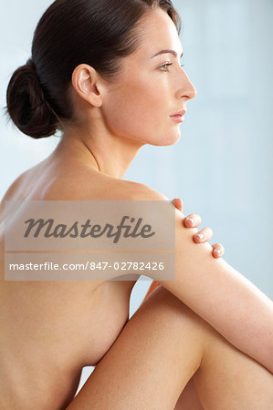 Beautiful naked woman sitting up Stock Photo - Rights-Managed, Image code: 847-02782426