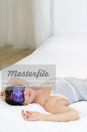 Shot of woman with sexy sleep mask Stock Photo - Rights-Managed, Image code: 847-02782555