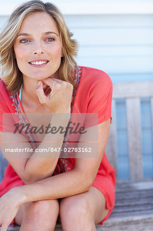 Beautiful mature woman  outside beachhouse Stock Photo - Rights-Managed, Image code: 847-02783162